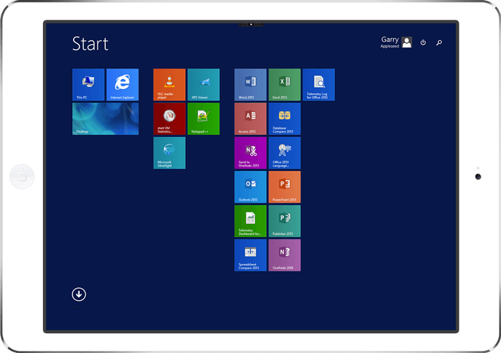 virtual desktop running applications on an iPad